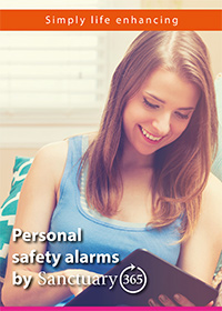 Front cover image of the Personal safety alarms by Sanctuary365 booklet