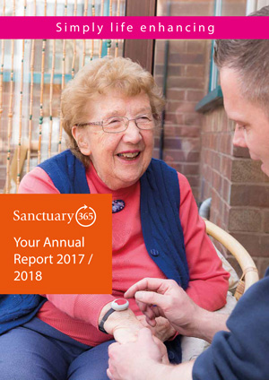 Front cover of the Sanctuary365 Annual Report 2017 / 2018