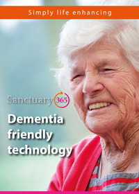 Front cover of the Sanctuary365 dementia friendly technology leaflet